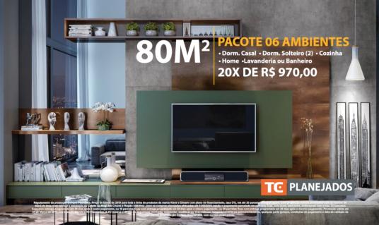 80m2 • 06 Ambientes 20x iguais de R$970,00